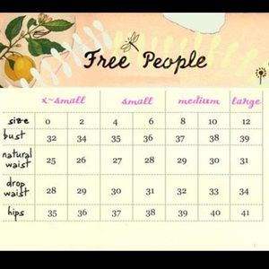Free People Size Chart